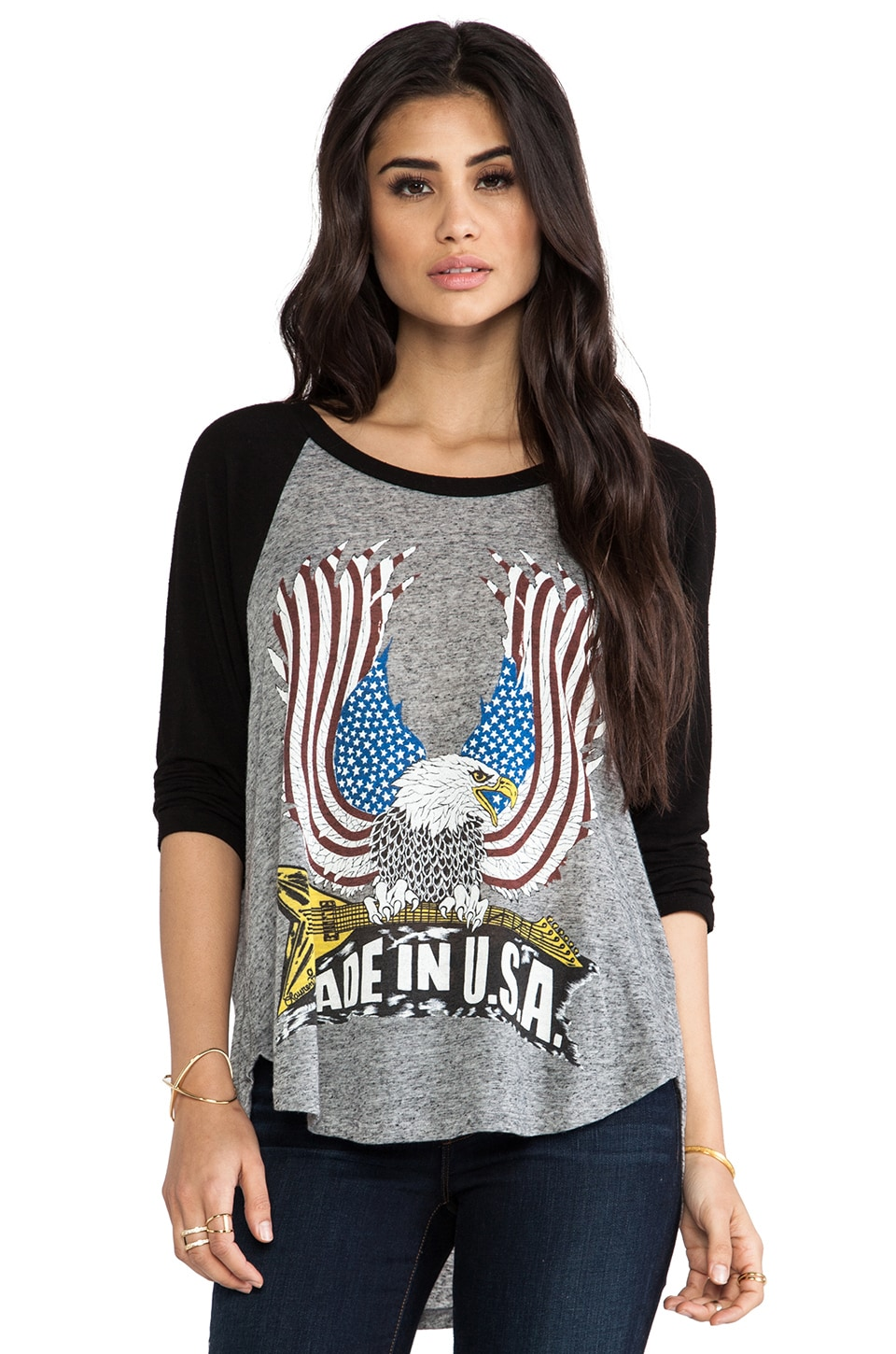 Lauren Moshi Drew Color USA Eagle Draped Raglan in Black