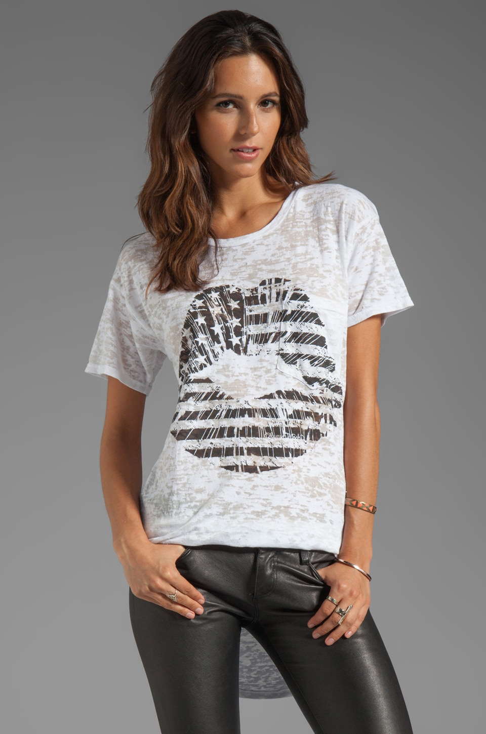 Lauren Moshi Debbie Flag Lip Pocket Tee in White
