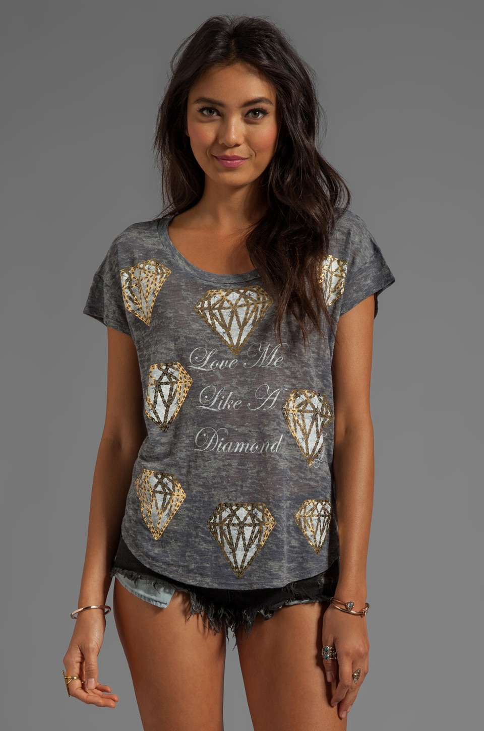 Lauren Moshi Audrey Mini Diamonds Scoop Tee in Heather Grey