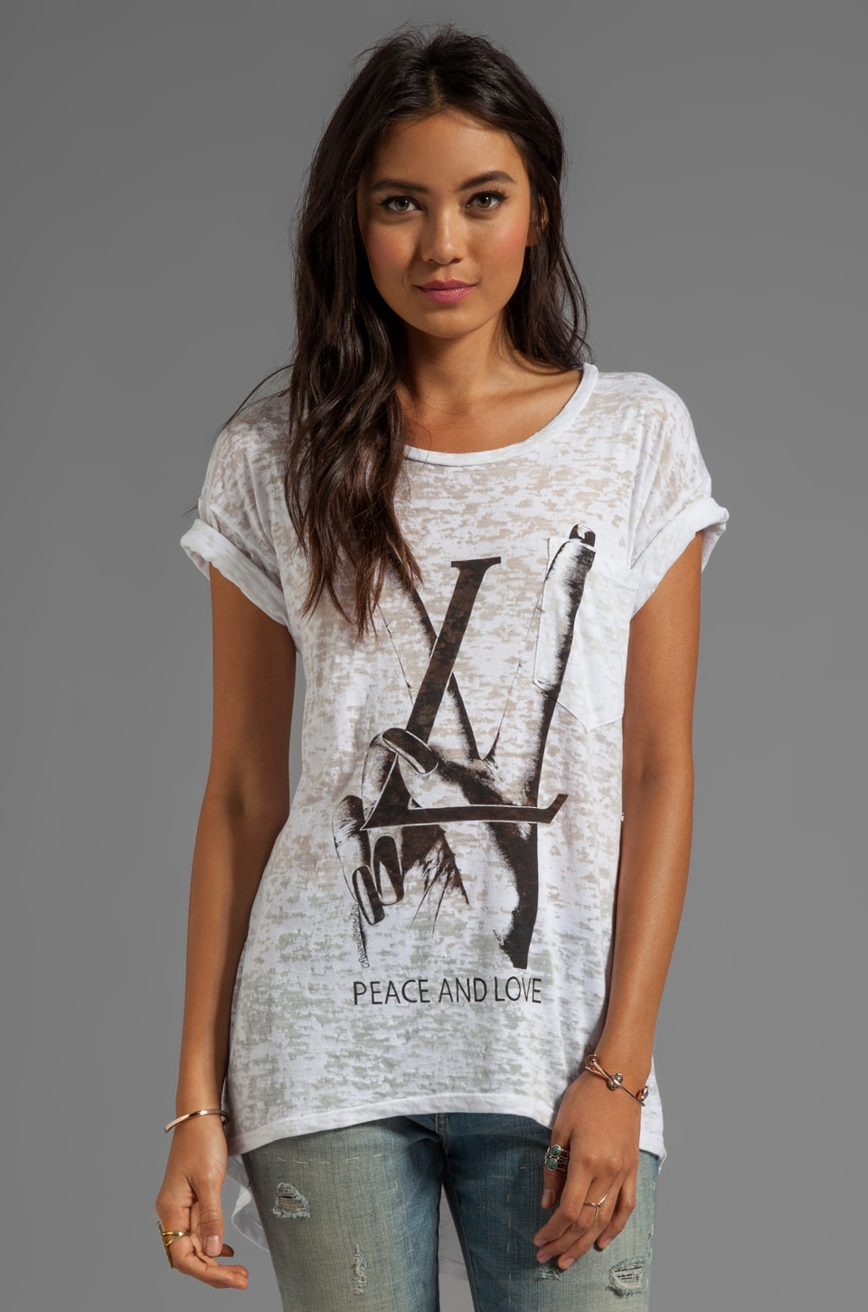 Lauren Moshi Debbie Peace & Love Boyfriend Pocket Tee in White