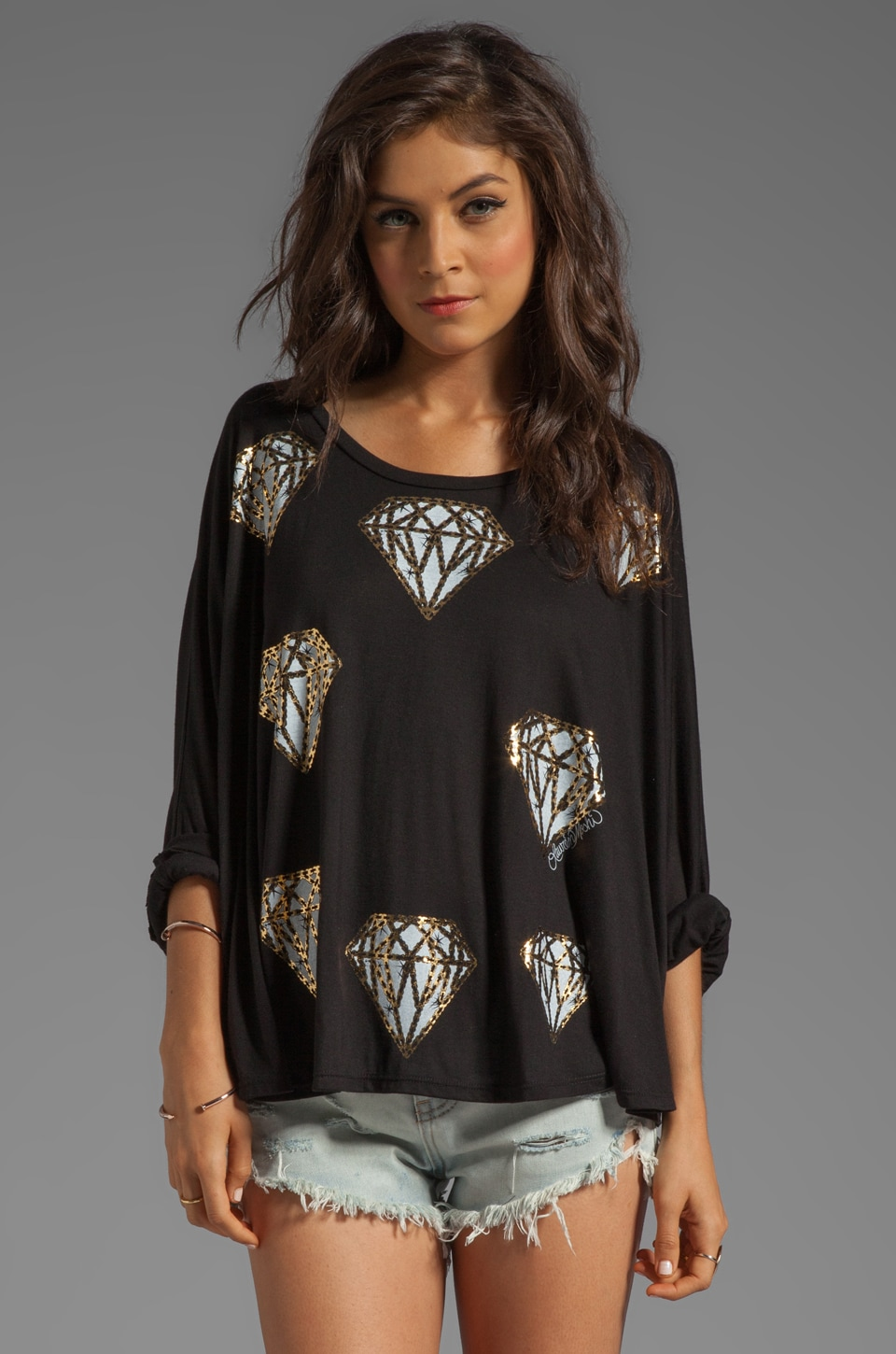 Lauren Moshi Angel Mini Diamonds Oversized Cape Tee in Black