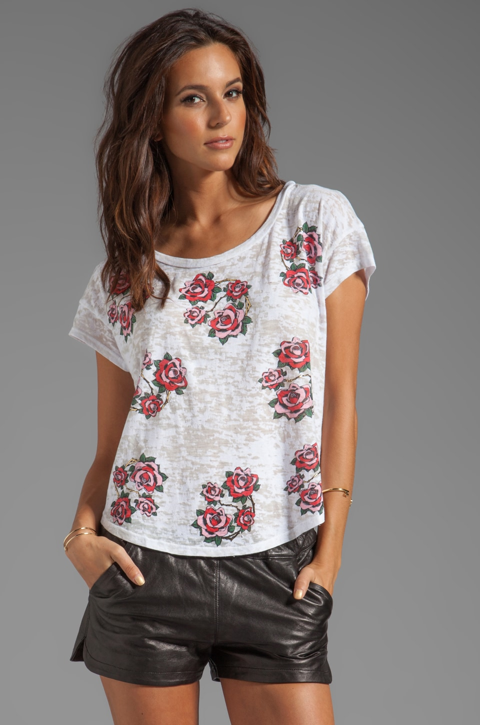 Lauren Moshi Audrey Mini Color Rose Vine Scoop Tee in White