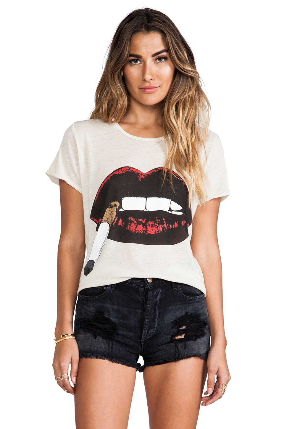 Lauren Moshi Edda Color Cig Lip Vintage Tee in Cotton