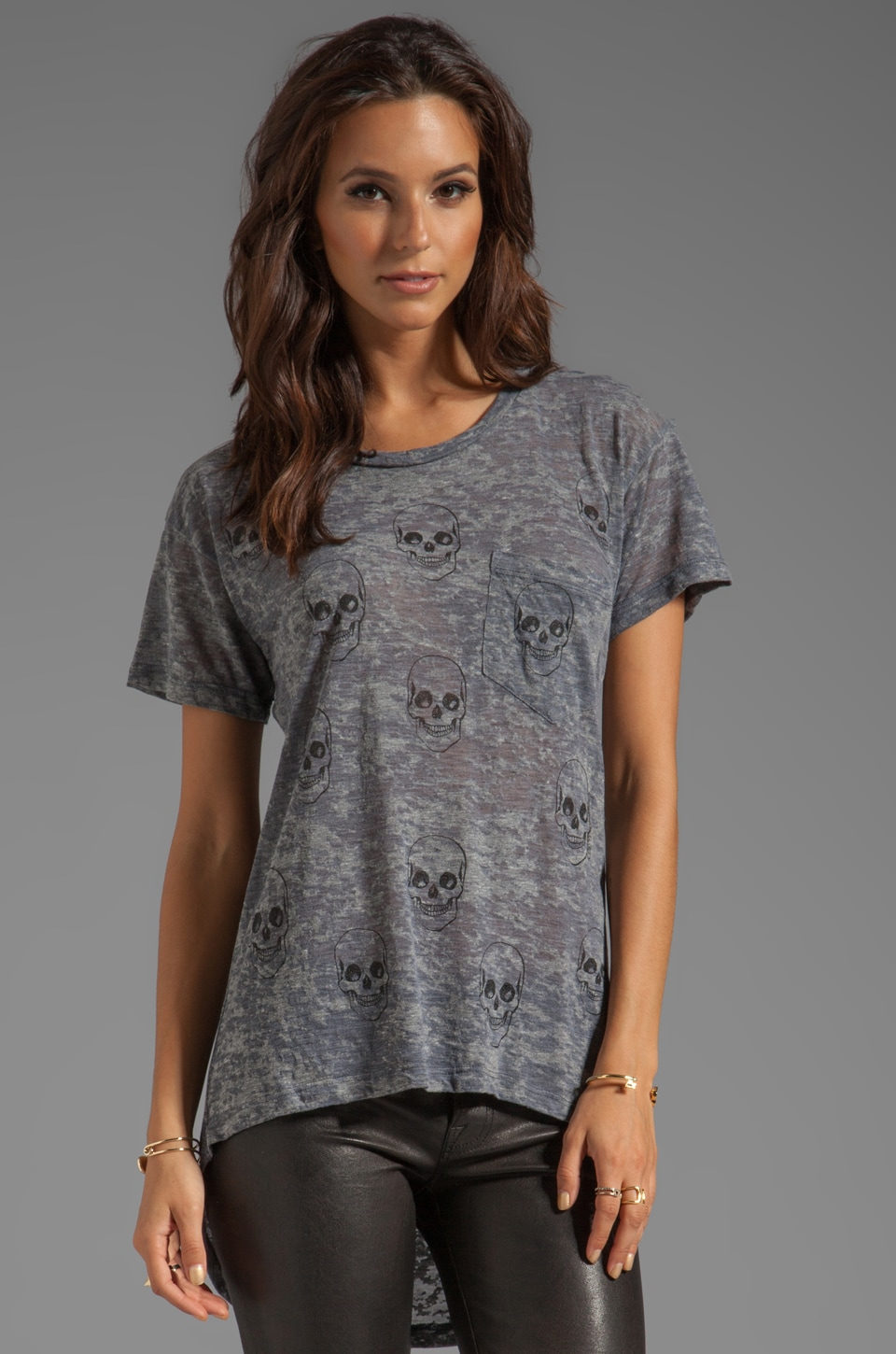 Lauren Moshi Debbie Mini Skull Face Debbie Boyfriend Pocket Tee in Heather Grey