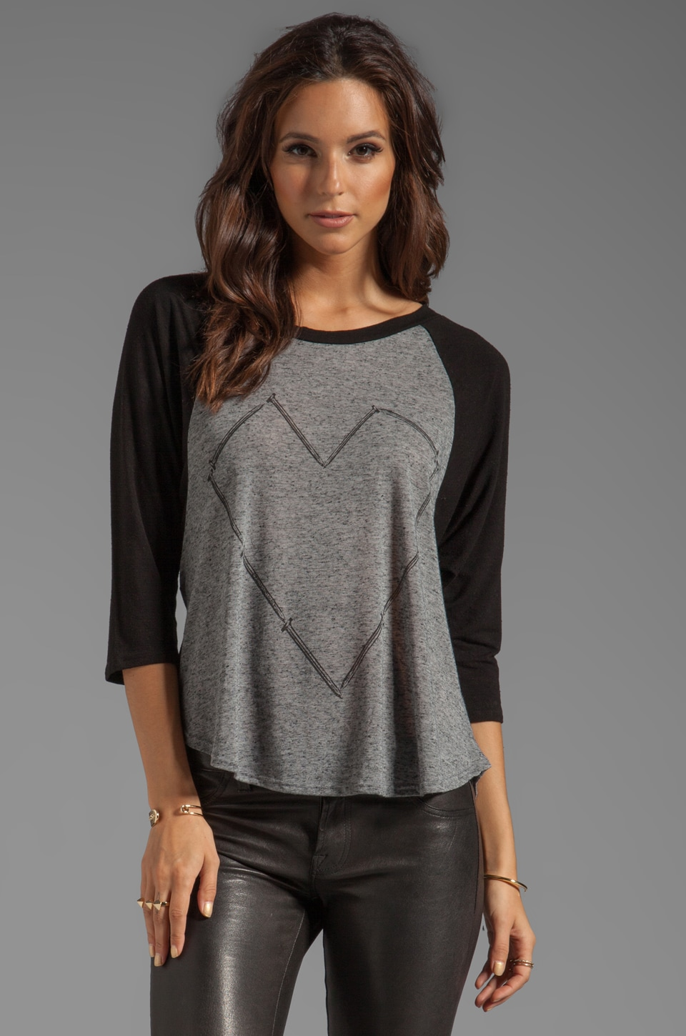 Lauren Moshi Drew Large Nail Heart Draped Sleeve Raglan Top in Black