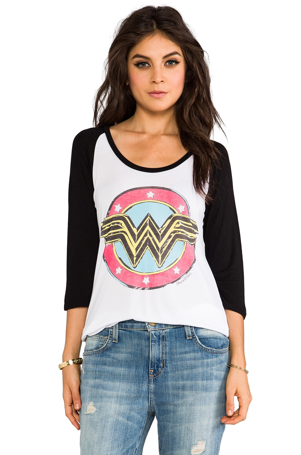 Lauren Moshi Frankie Wonder Women Baseball Tee in White/Black