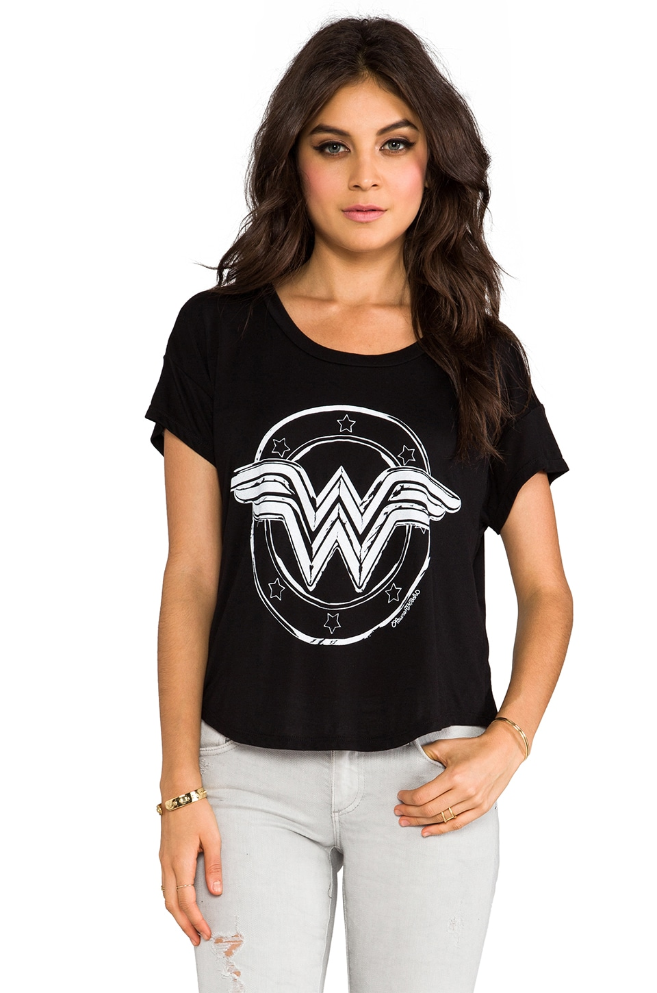 Lauren Moshi Audrey Wonder Women Scoop Tee in Black