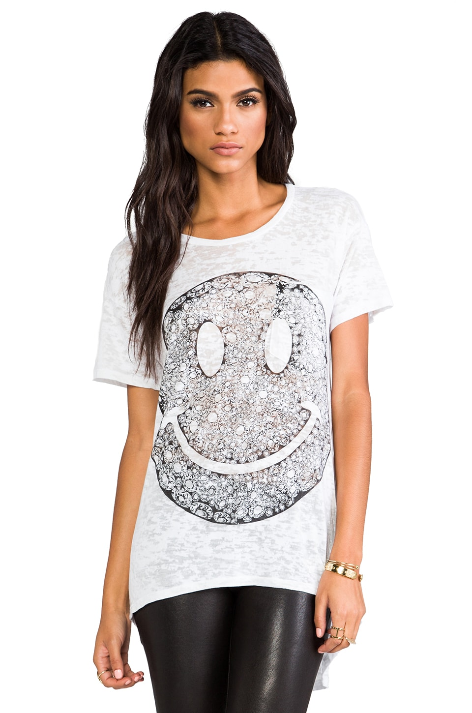 Lauren Moshi Debbie Diamond Happyface Boyfriend Pocket Tee in White