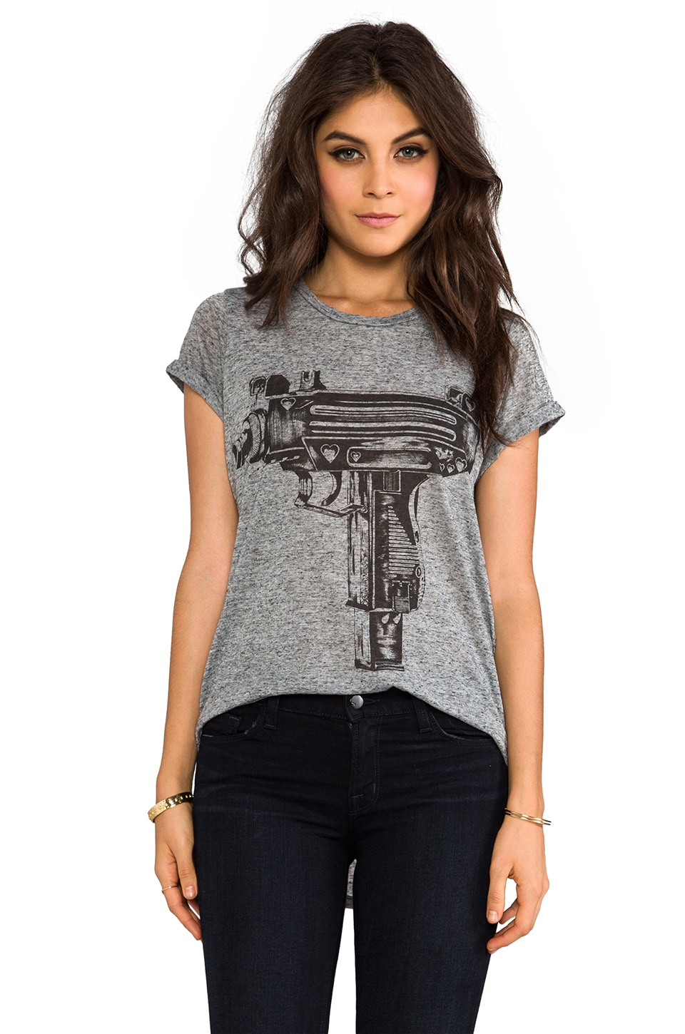 Lauren Moshi Edda Love Gun Vintage Tee in Black