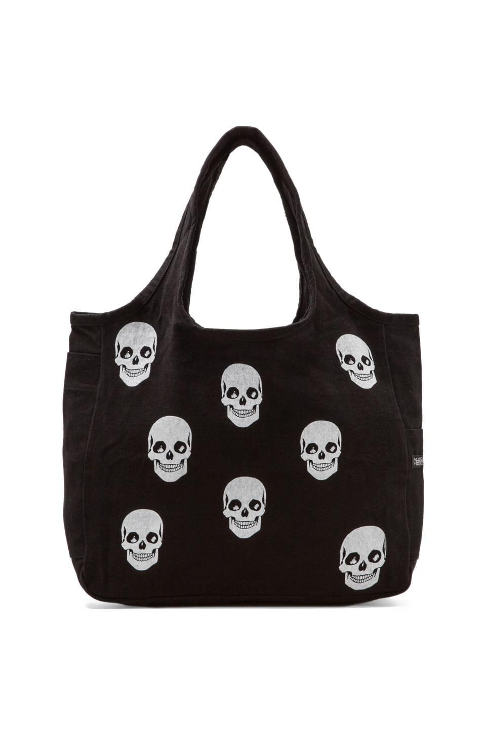 Lauren Moshi Taylor Mini Skull Face Canvas Tote Bag in Black