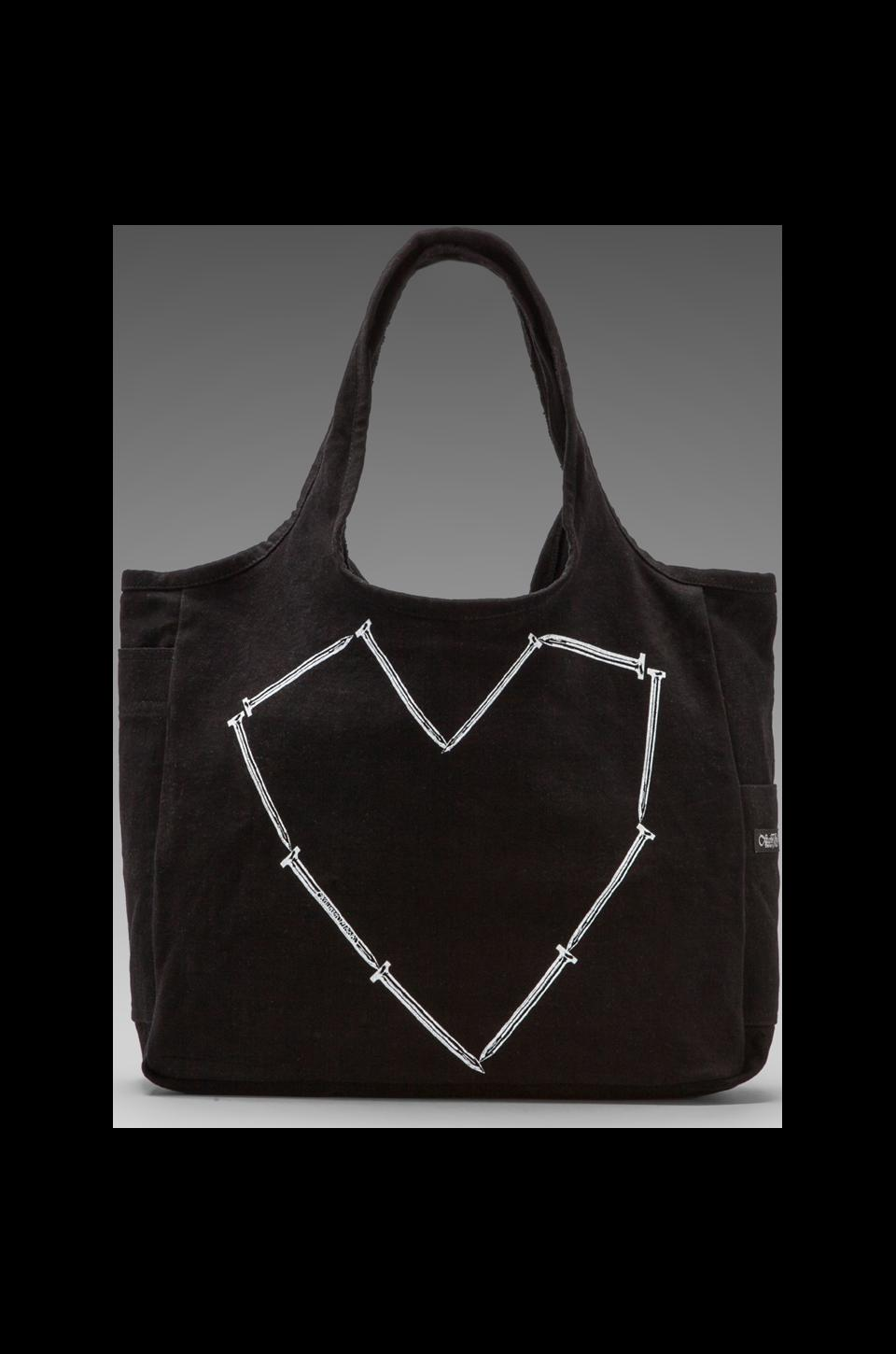 Lauren Moshi Taylor Nail Heart Canvas Tote Bag in Black
