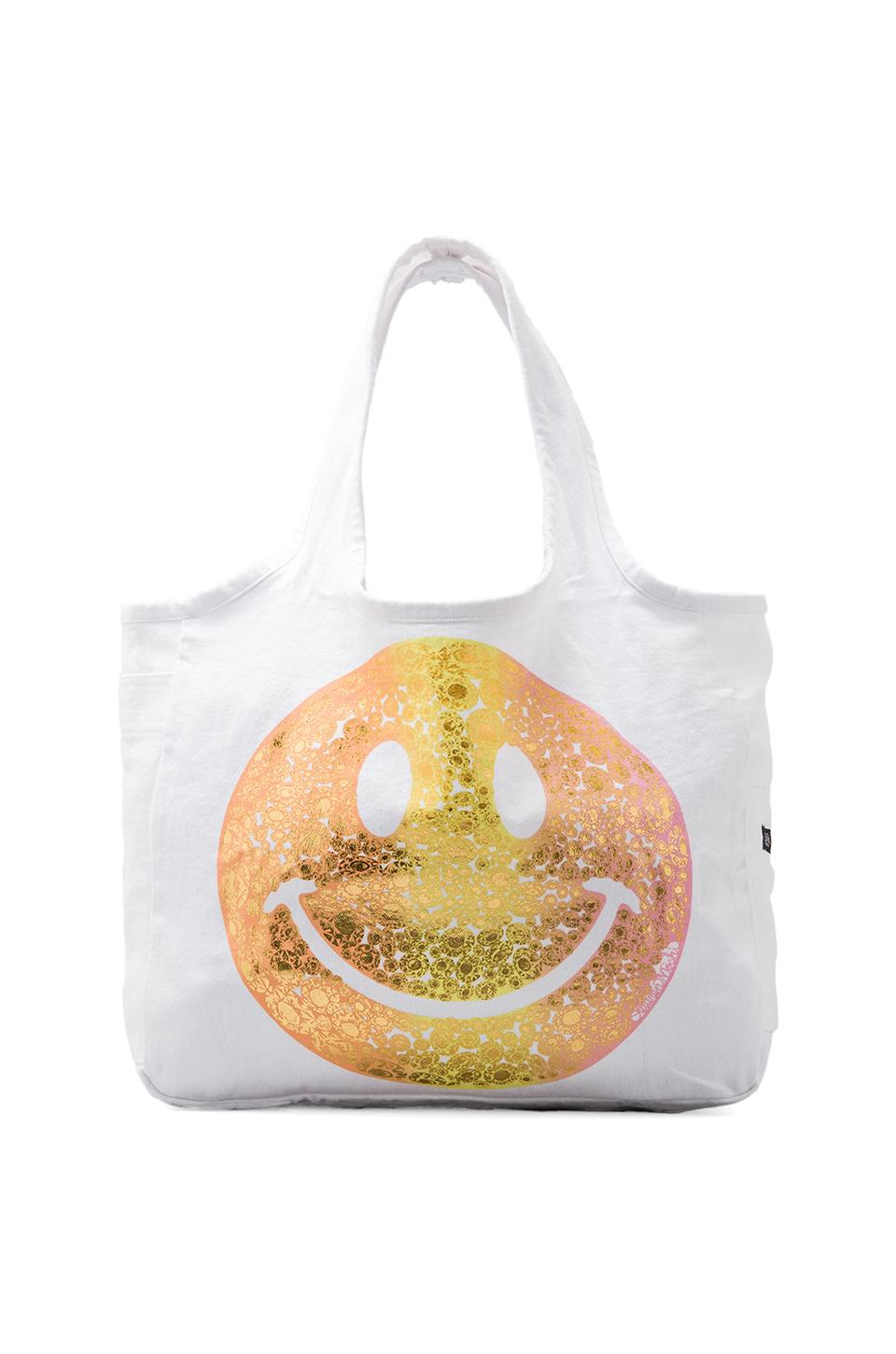 Lauren Moshi Taylor Foil Diamond Happyface Tote in White
