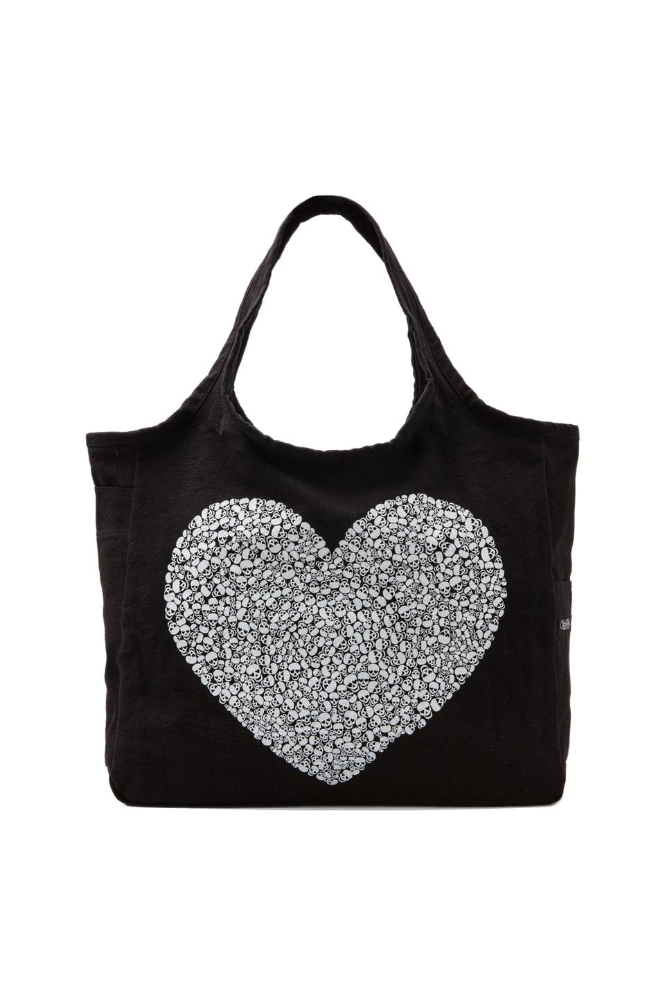 Lauren Moshi Taylor Small Mini Skull Heart Canvas Tote in Black