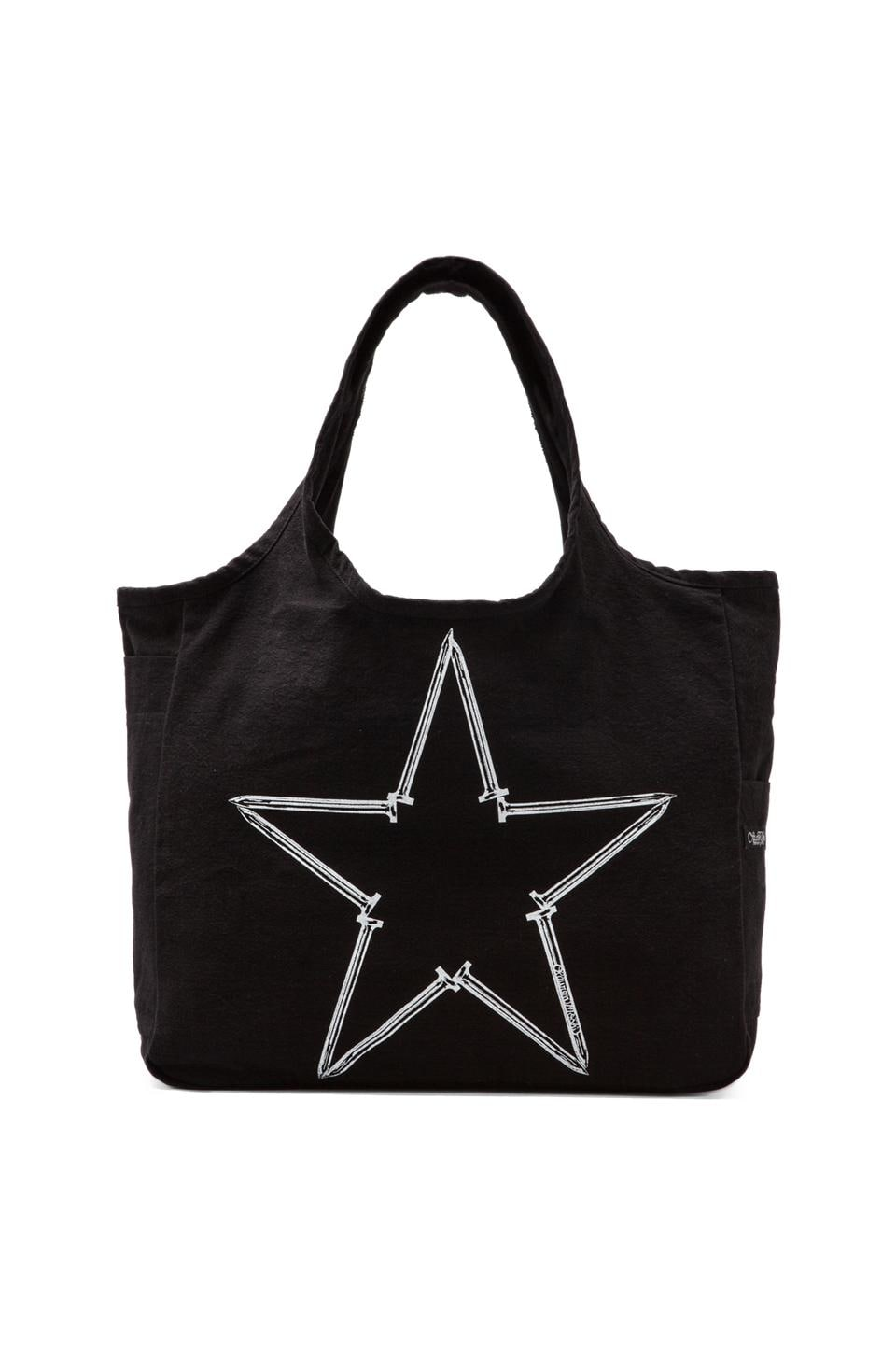 Lauren Moshi Taylor Medium Nail Star Canvas Tote in Black