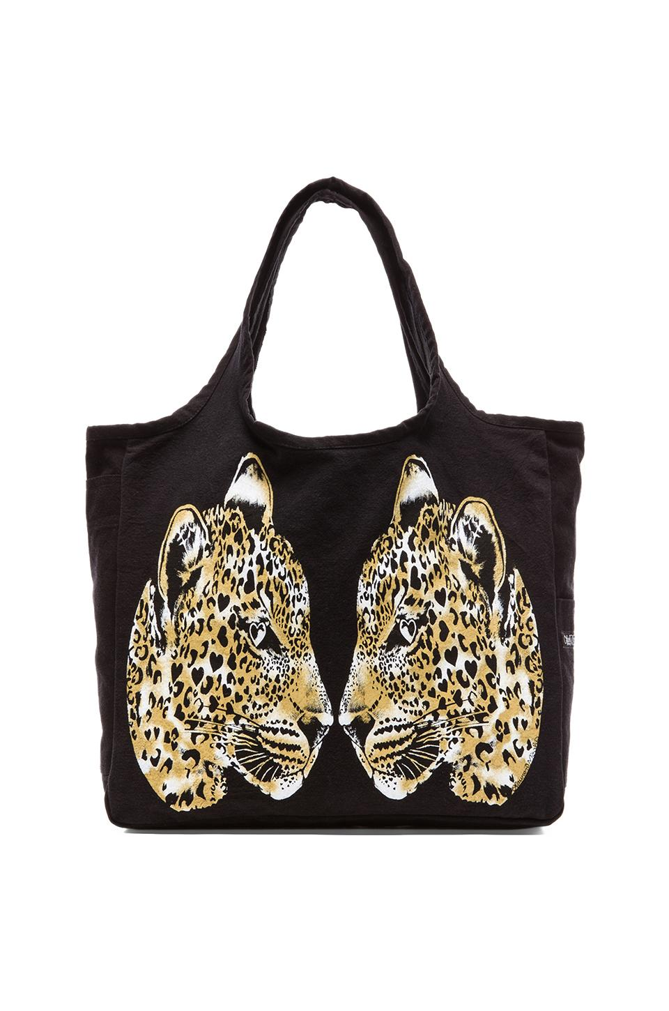 Lauren Moshi Taylor Color Mirror Leopards Canvas Tote in Black