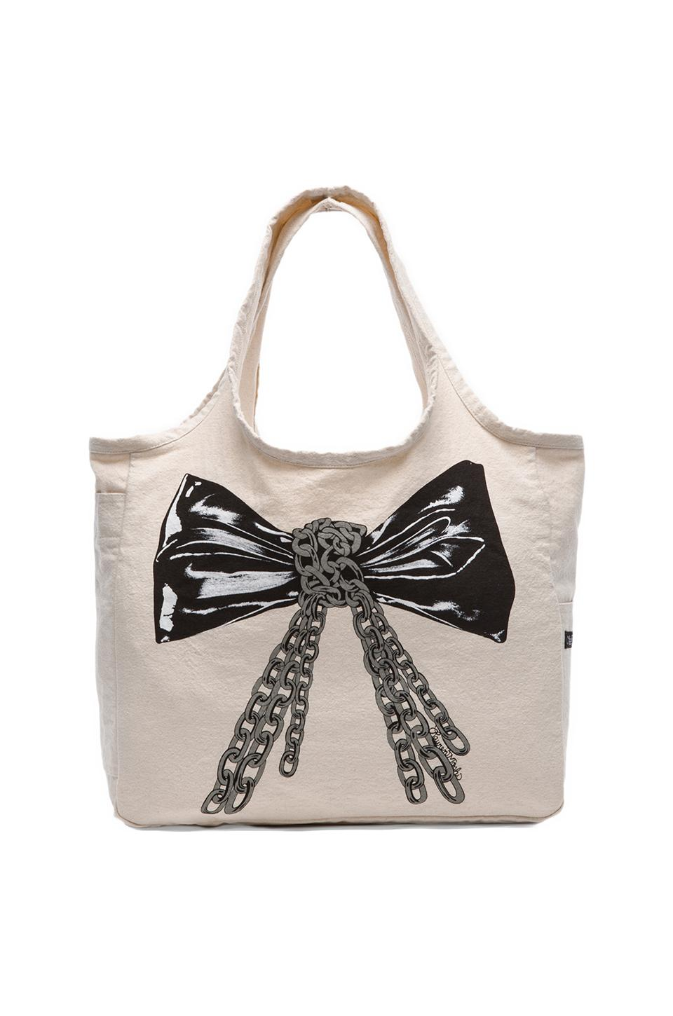 Lauren Moshi Taylor Color Chain Bow Canvas Tote in Natural