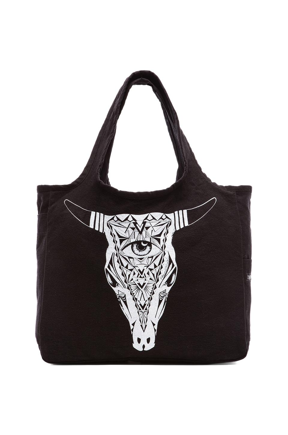 Lauren Moshi Taylor Aztec Bull Canvas Tote in Black