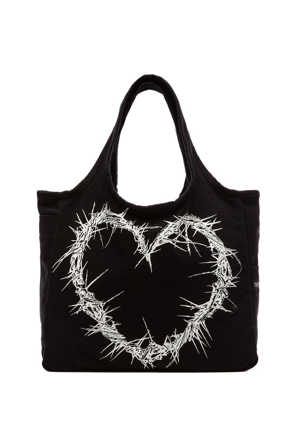 Lauren Moshi Taylor Thorn Heart Canvas Tote in Black