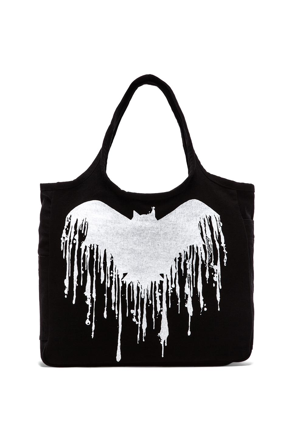 Lauren Moshi Taylor Dripping Bat Canvas Tote in Black