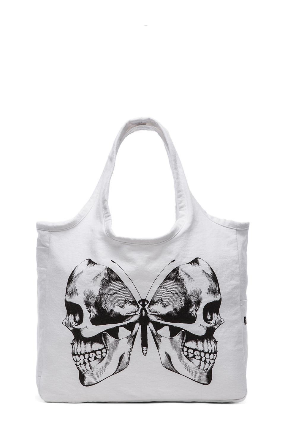 Lauren Moshi Taylor Skull Butterfly Canvas Tote in White
