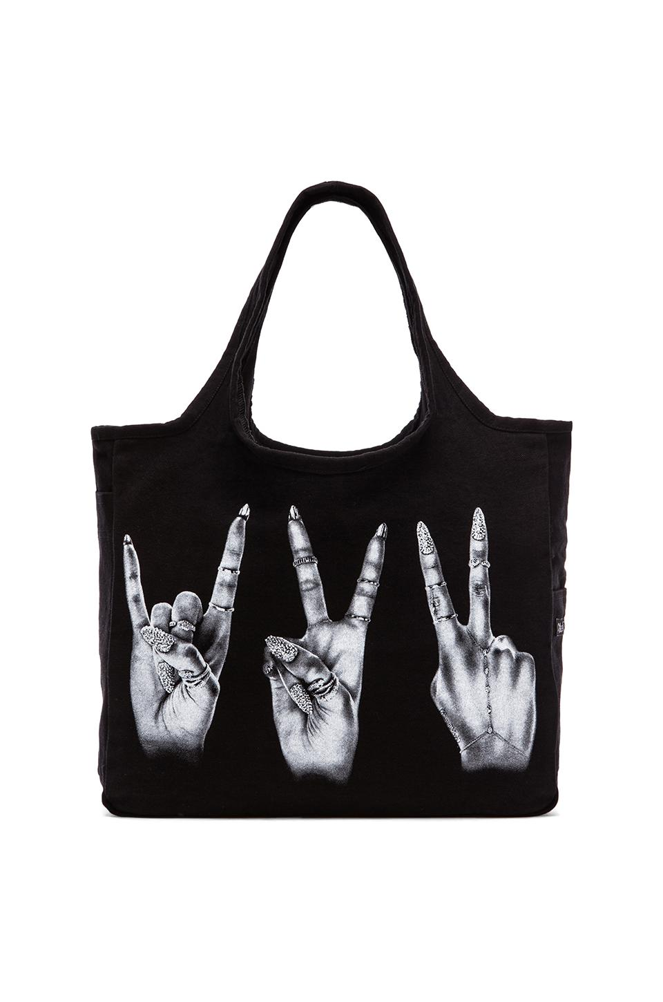 Lauren Moshi Taylor Foil Peace Hand Tote Bag in Black
