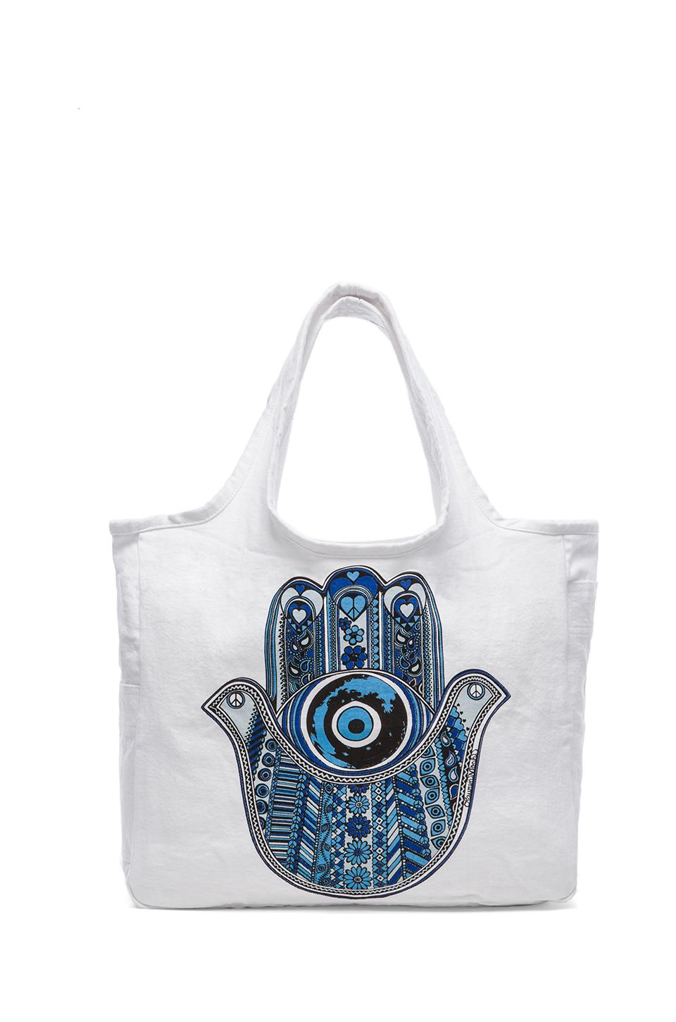 Lauren Moshi Taylor Med Blue Hamsa Tote Bag in White