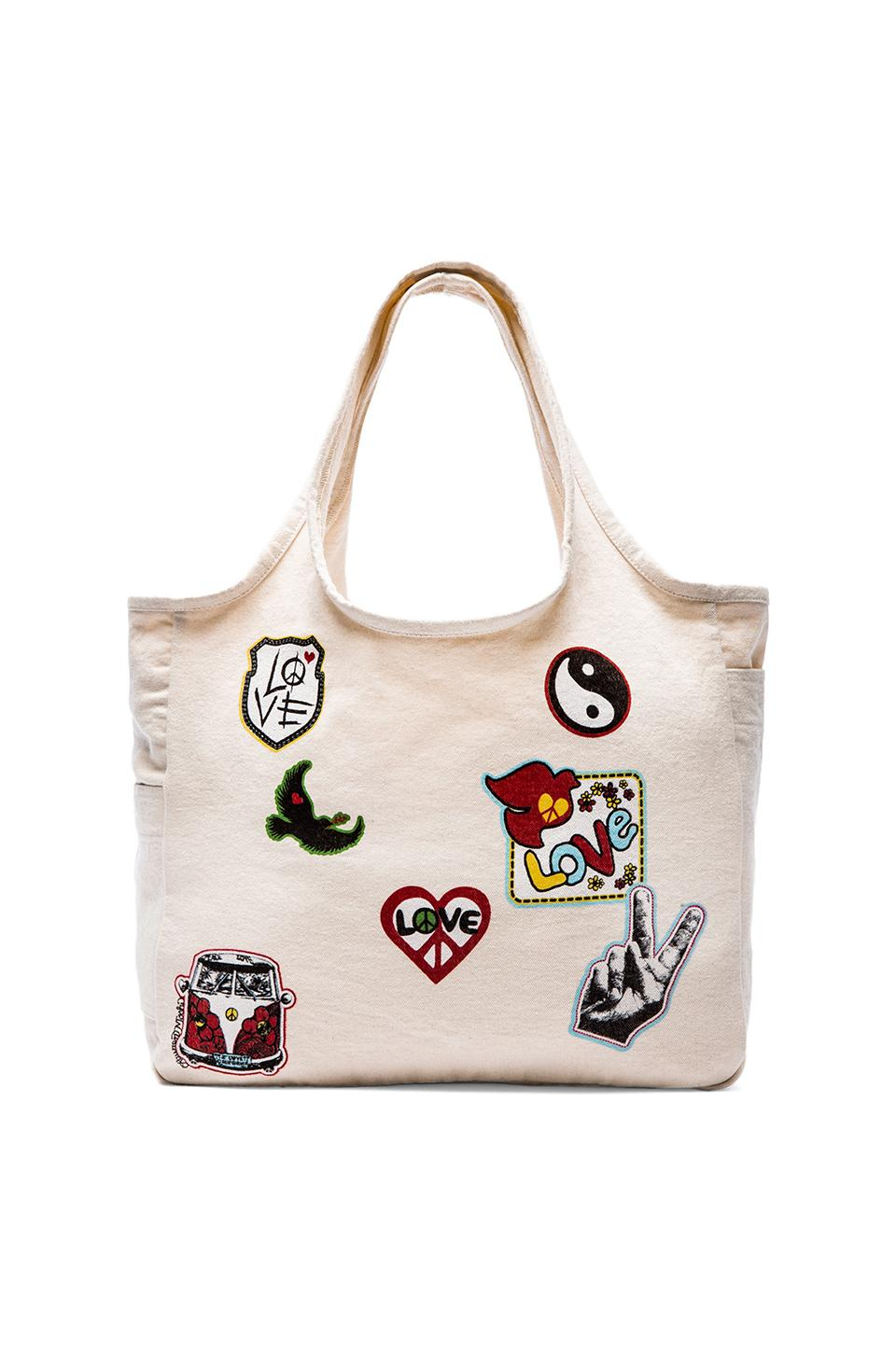 Lauren Moshi Taylor Patches Canvas Tote in Natural