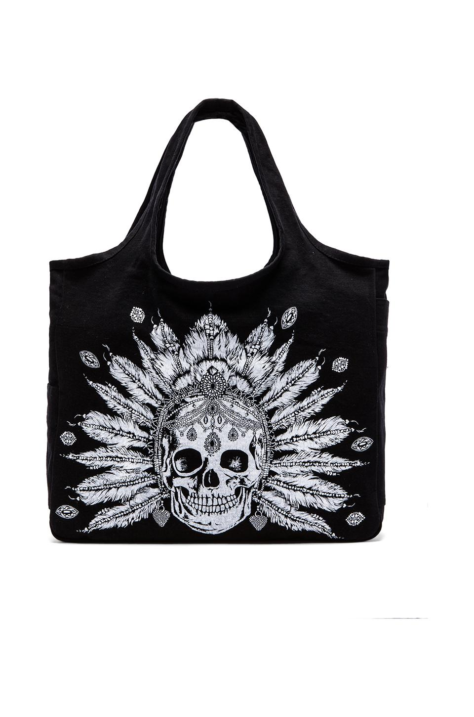 Lauren Moshi Taylor Feather Chain Skull Canvas Tote Bag in Black