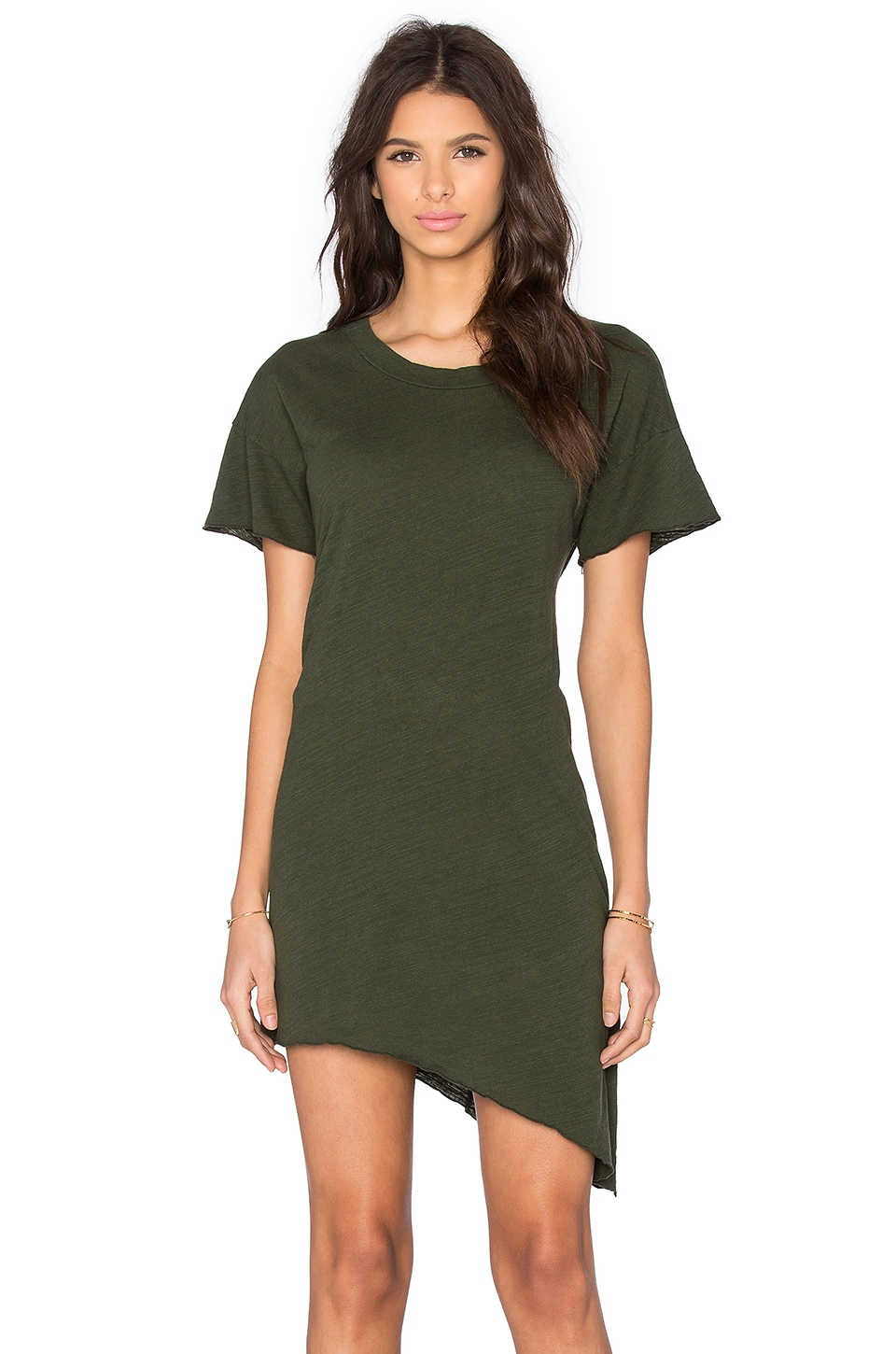 LNA Slant Tee Dress in Army