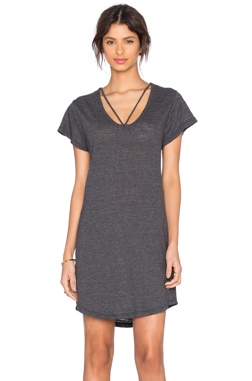 LNA Strappy Tee Dress in Granite