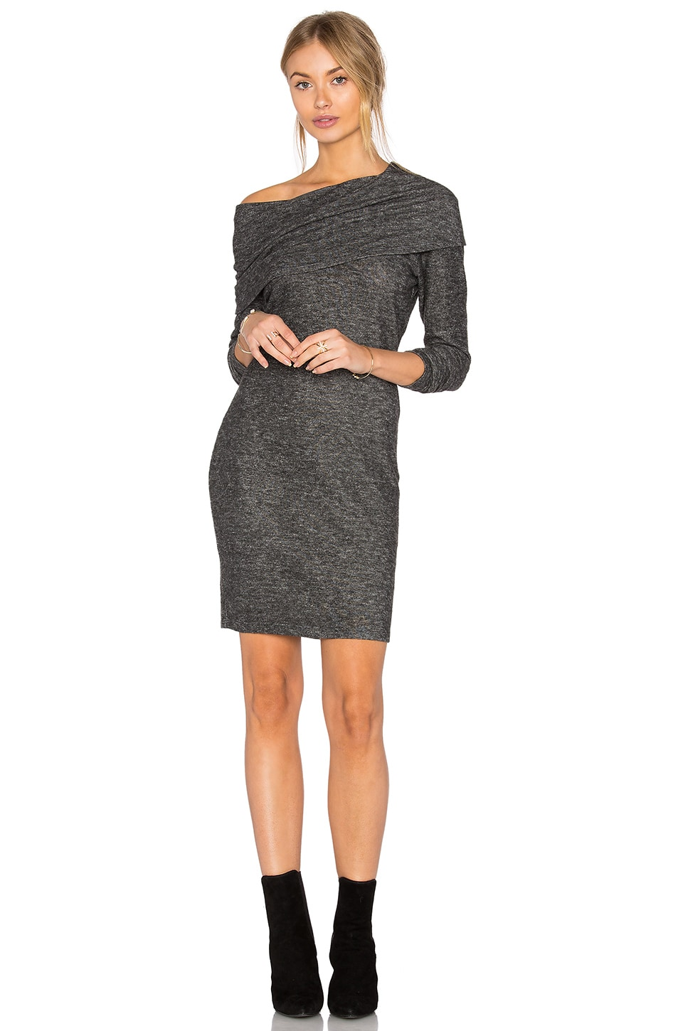 LNA Brenda Scarf Dress in Melange Grey