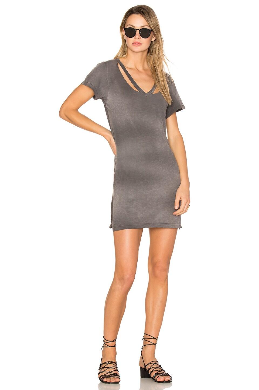 LNA Double Fallon Tee Dress in Charcoal Potassium