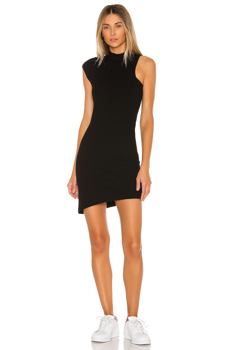 LNA Peak Rib Dress in Black