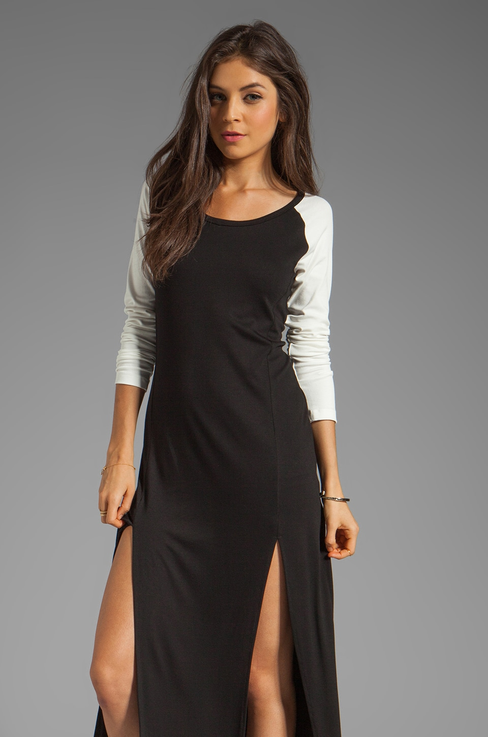LNA Prescilla Dress in Black/Eggshell