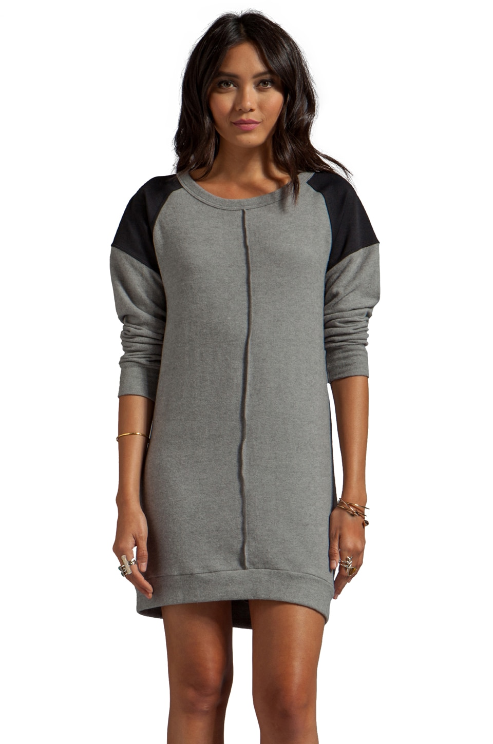 LNA Cyd Sweater Dress in Heather Grey/Black