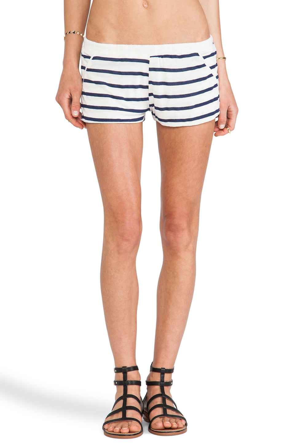 LNA Byron Short in Natural & Black Stripe