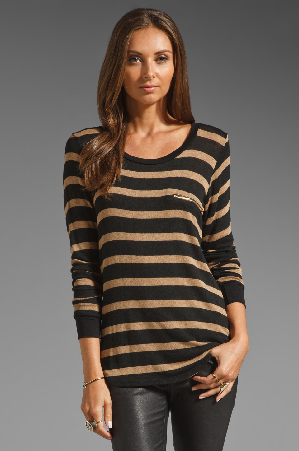 LNA Spencer Striped Sweater in Oat/Black Stripes
