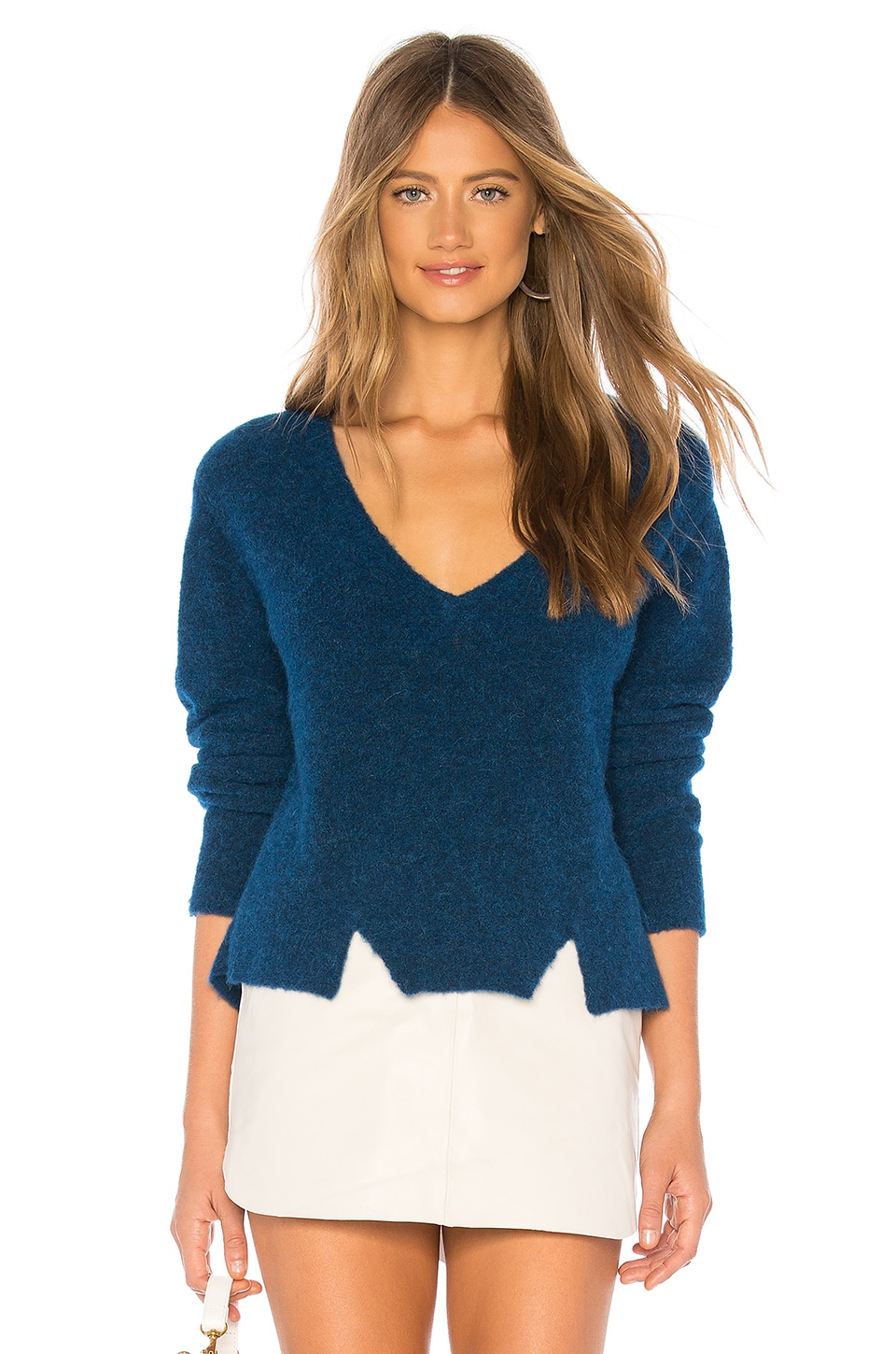 LNA Cropped V Neck Alpaca Sweater in Blue