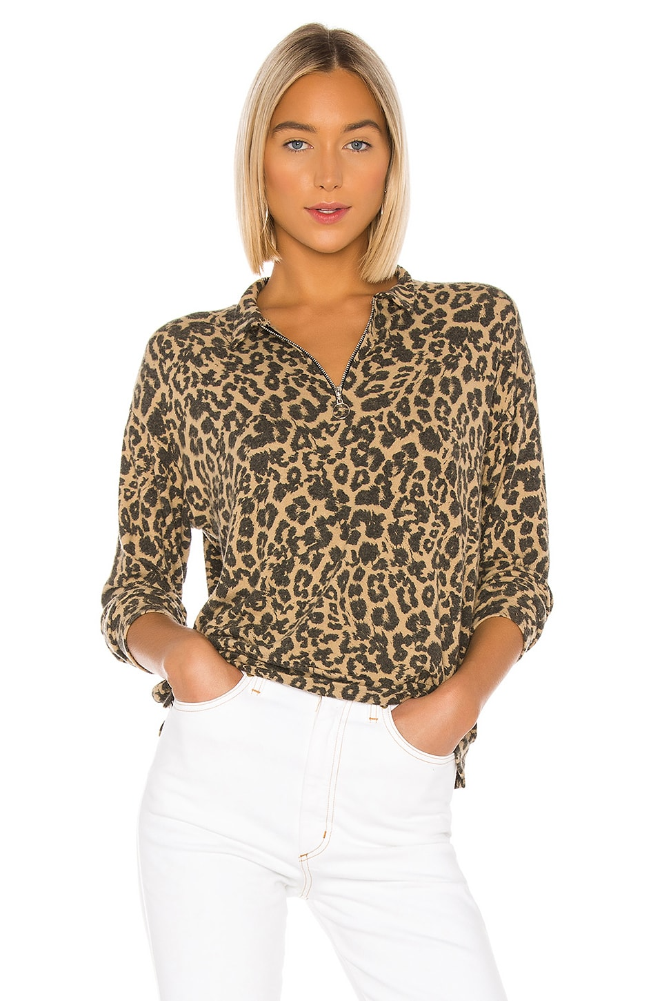 LNA Brushed Leopard Zip Collar Pullover in Leopard
