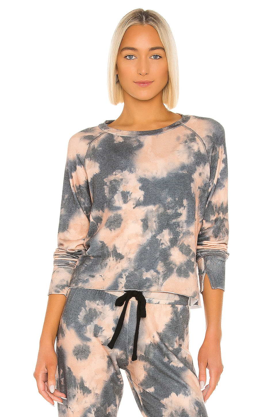 LNA Brushed Pullover in Carmel Black Tie Dye