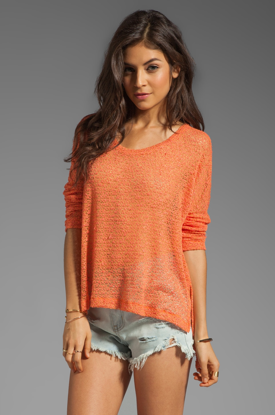 LNA Reyes Cape Sweater in Citrus