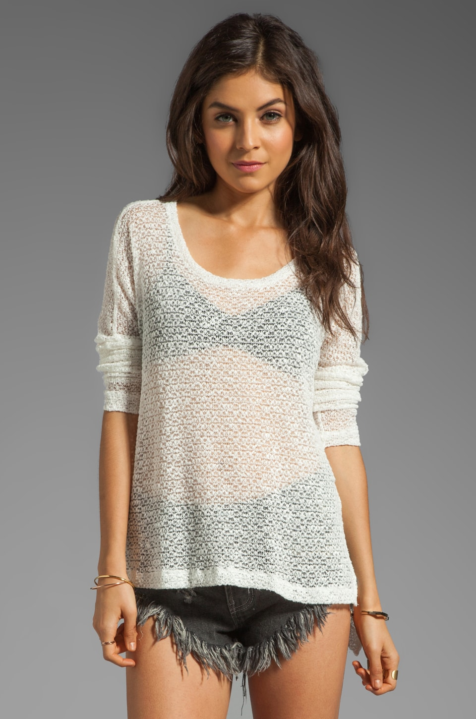 LNA Reyes Cape Sweater in White