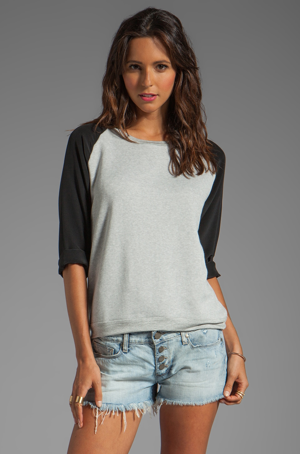 LNA Hutton Sweatshirt in Heather Grey/Black