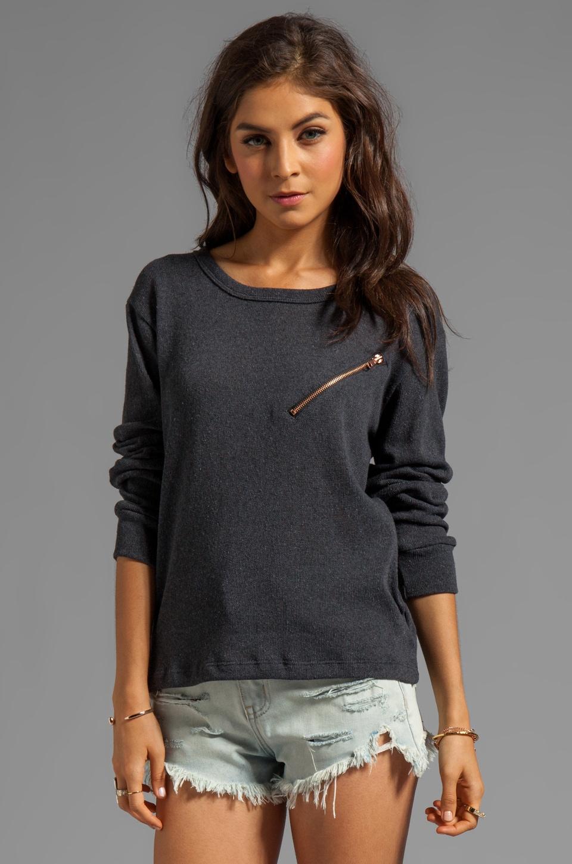 LNA Carter Zip Sweater in Charcoal