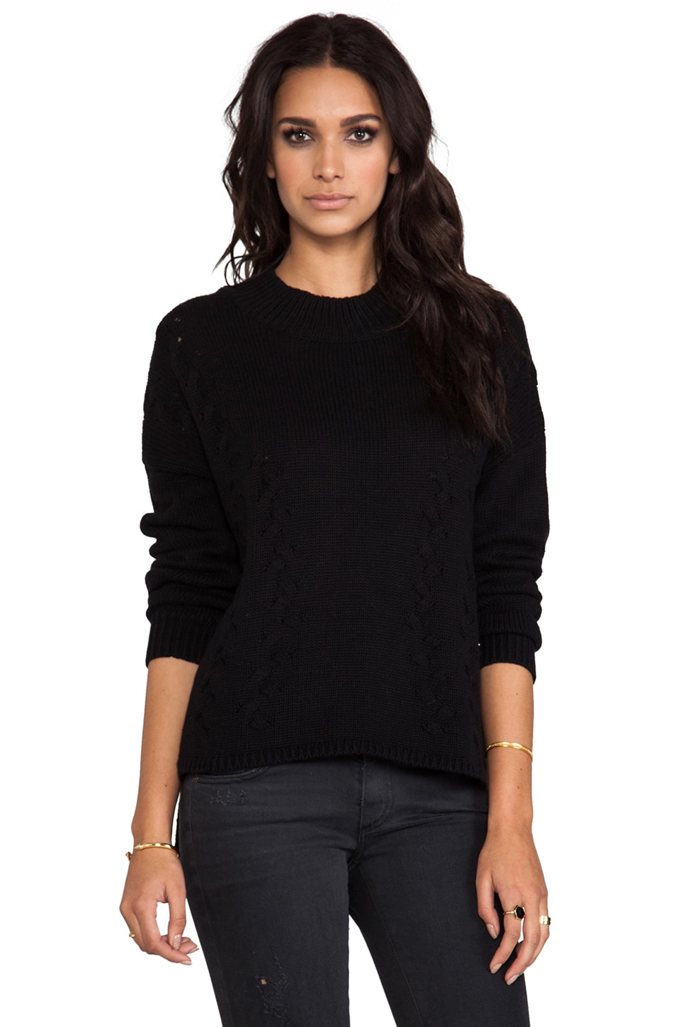 LNA Braided Turtleneck Sweater in Black