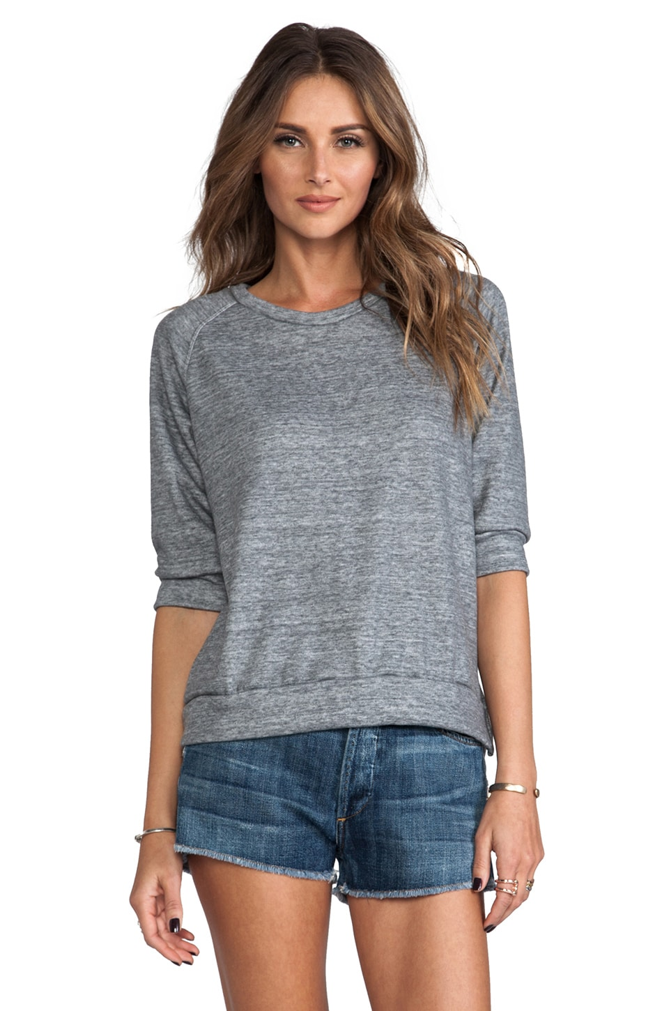 LNA 3/4 Terry Sweatshirt in Heather Grey