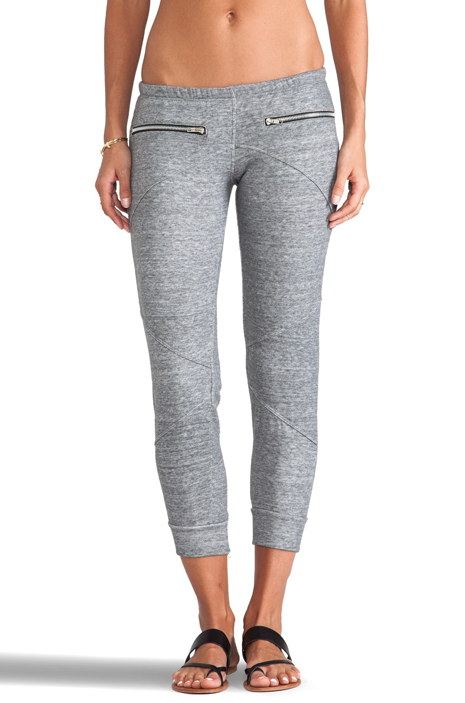 LNA Terry Zip Sweatpant in Heather Grey