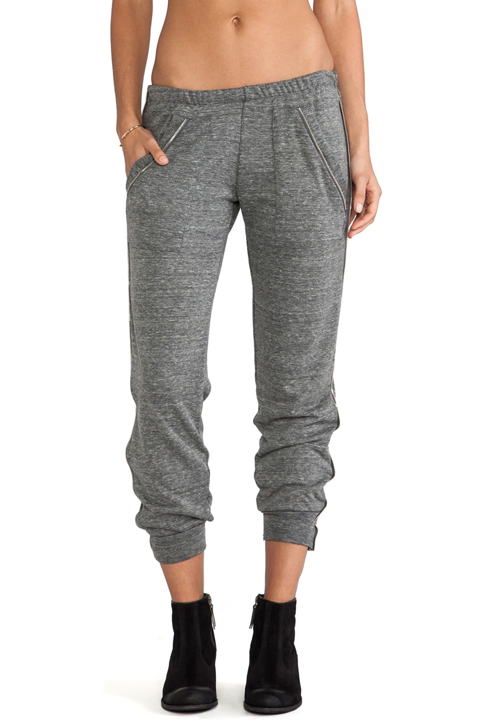 LNA Isaac Zip Pant in Heather Grey