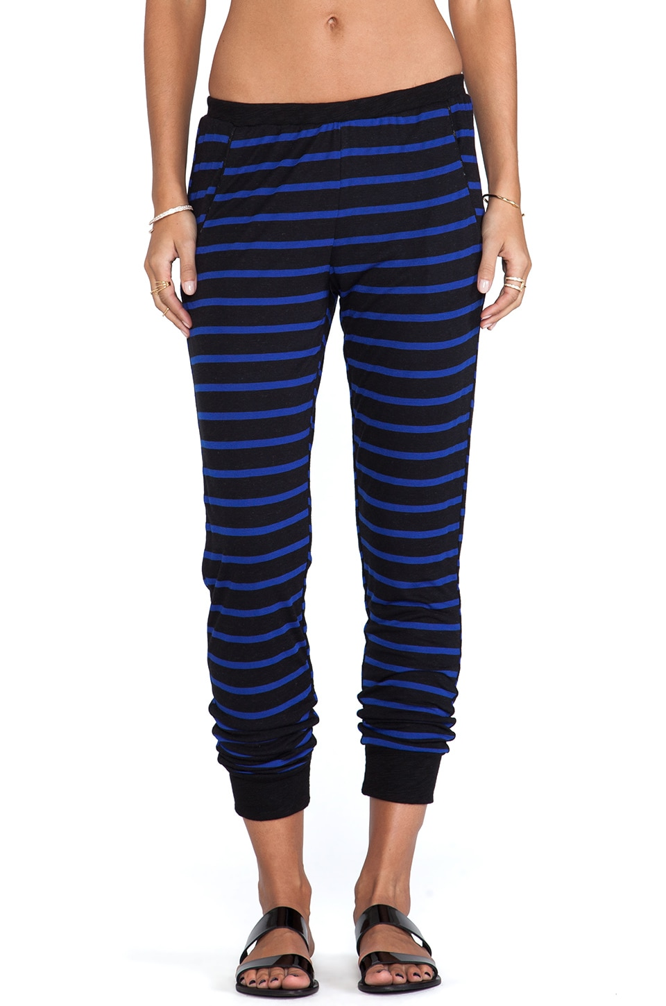 LNA Aldridge Pant in Black & Blue Stripe