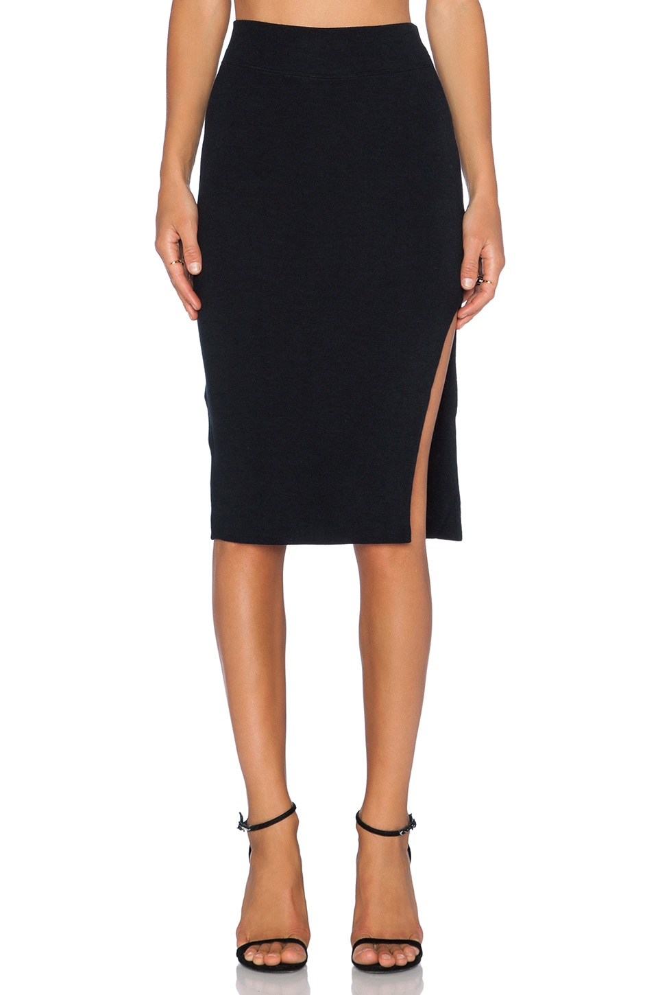 LNA Double Layer Pencil Skirt in Black
